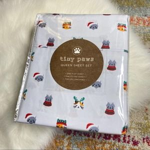 Kitty Cat Holiday Festive Queen Size Sheet Set
